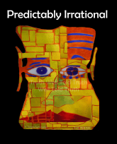 """""""Truth Well Told"""" brand funny, ironic, """"Predictably Irrational"""" psychology T-shirt with colorful cubist face symbolizing illogical decision-making"""