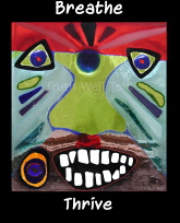 """""""Truth Well Told"""" brand primitive African native tribal totem face mindfulness meditation design for the T-shirt that says, """"Breathe Thrive"""""""