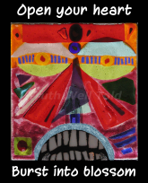 """""""Truth Well Told"""" brand native tribal totem face mindfulness design for the T-shirt that says, """"Open your heart Burst into blossom"""""""